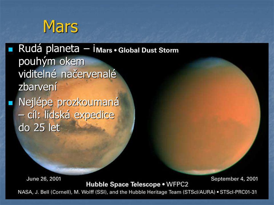 Mars  Rudá planeta – i pouhým okem viditelné načervenalé zbarvení  Nejlépe prozkoumaná – cíl: lidská expedice do 25 let