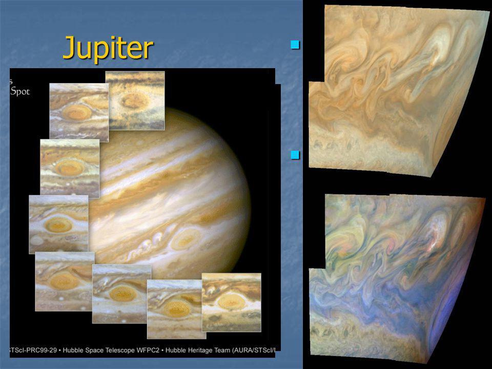 Jupiter  Obří plynná planeta - největší ve Sluneční soustavě  Povrch atmosféry uspořádán do pruhů a vírů – největší = Velká rudá skvrna
