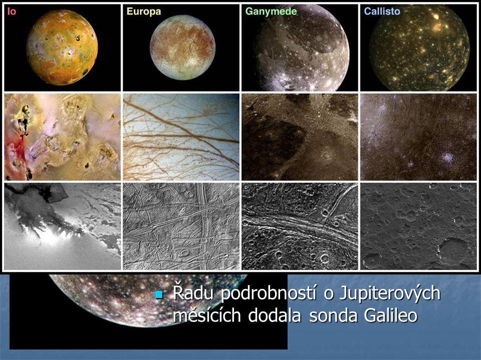 Fotogalerie měsíců  Jupiter – nejznámější 4 tzv. Galileovy měsíce: Io, Ganymed, Europa a na obrázku Callisto  Povrch Callisto tvoří ledový příkrov 