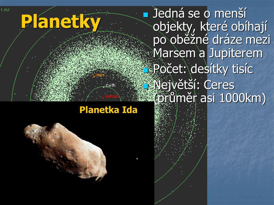  Jedná se o menší objekty, které obíhají po oběžné dráze mezi Marsem a Jupiterem  Počet: desítky tisíc  Největší: Ceres (průměr asi 1000km) Planetky Planetka Ida