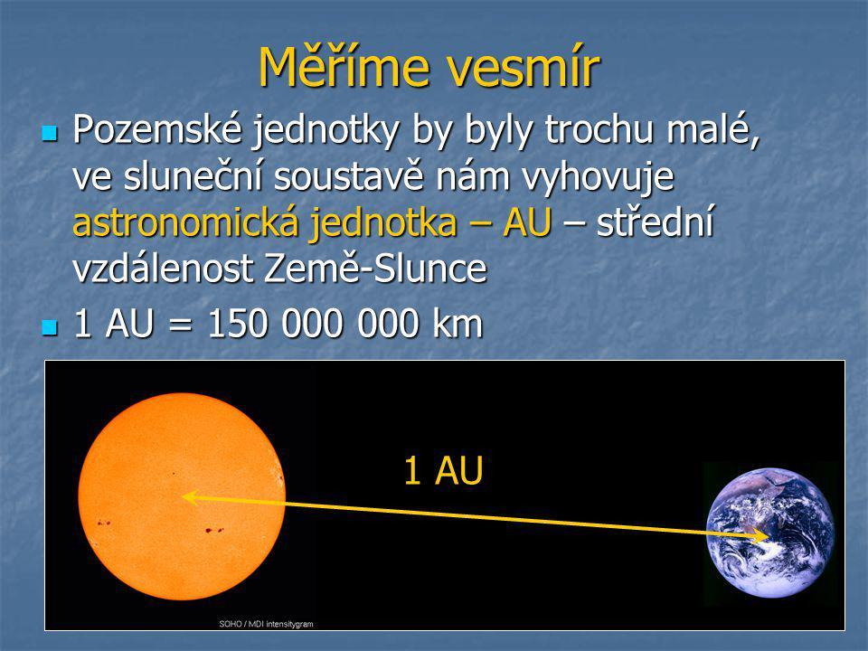 Měříme vesmír  Pozemské jednotky by byly trochu malé, ve sluneční soustavě nám vyhovuje astronomická jednotka – AU – střední vzdálenost Země-Slunce  1 AU = 150 000 000 km 1 AU