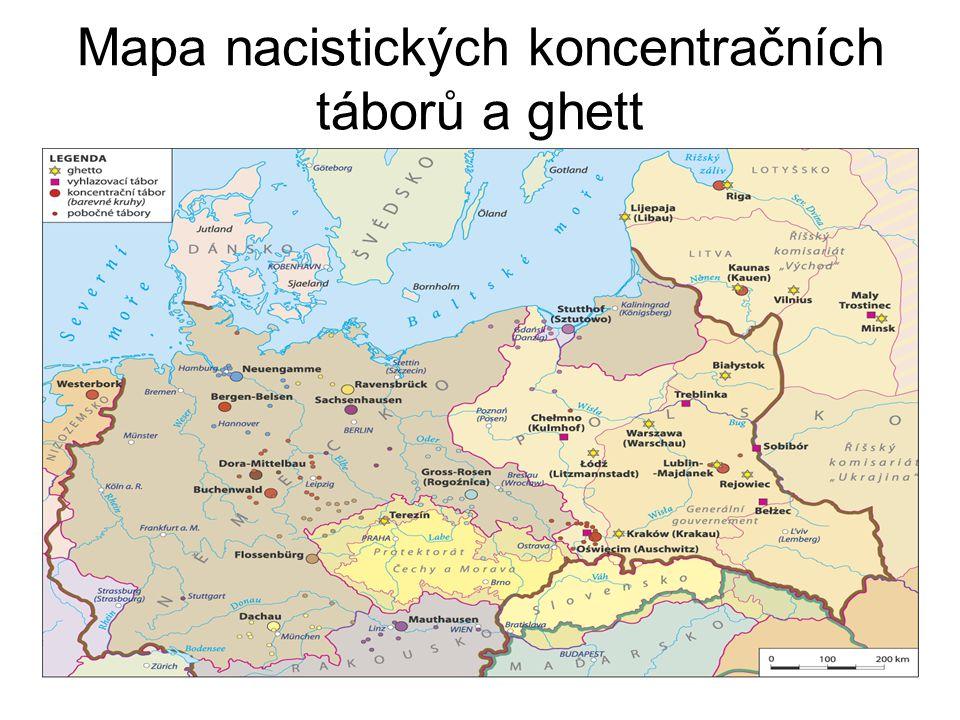 Mapa nacistických koncentračních táborů a ghett