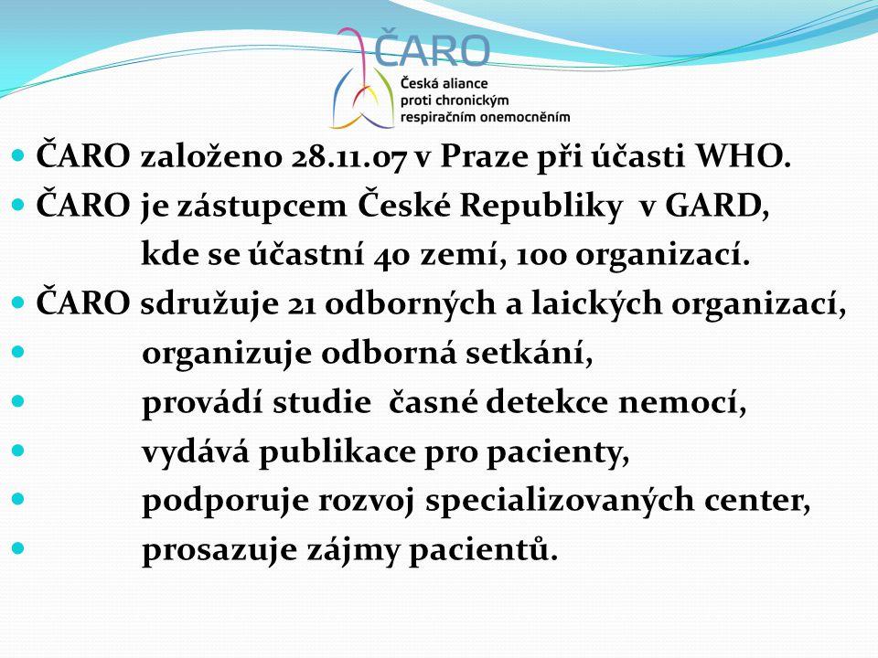  ČARO založeno 28.11.07 v Praze při účasti WHO.