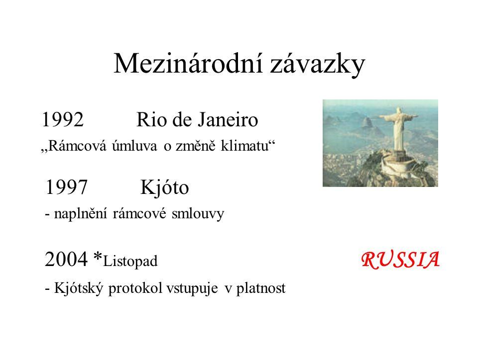 """Mezinárodní závazky 1992 Rio de Janeiro """"Rámcová úmluva o změně klimatu"""" 1997 Kjóto - naplnění rámcové smlouvy 2004 * Listopad RUSSIA - Kjótský protok"""