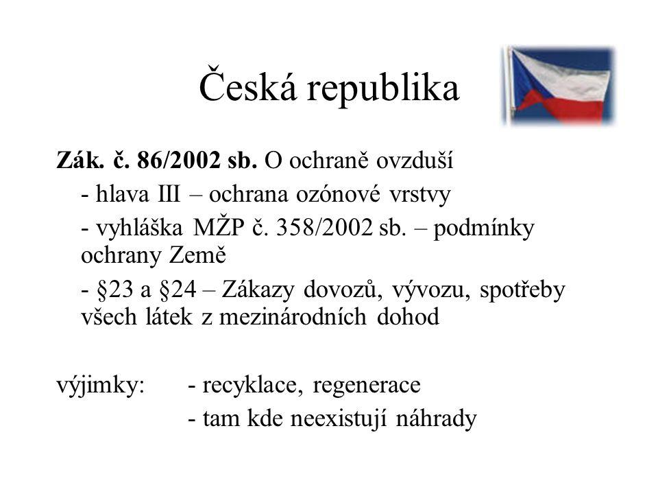 Česká republika Zák. č. 86/2002 sb. O ochraně ovzduší - hlava III – ochrana ozónové vrstvy - vyhláška MŽP č. 358/2002 sb. – podmínky ochrany Země - §2