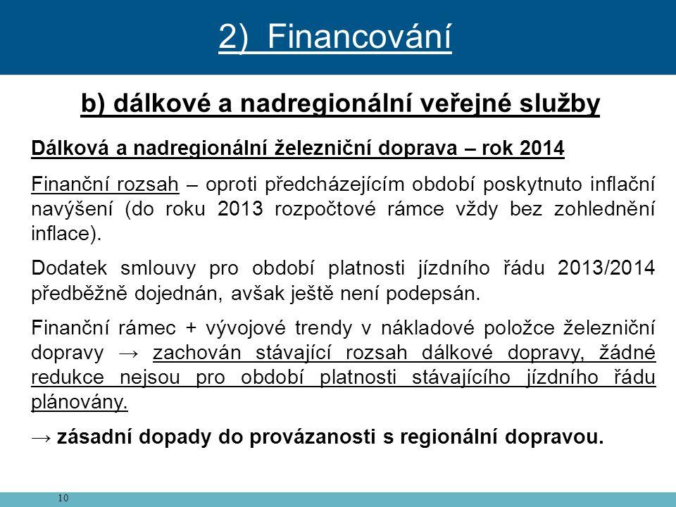 10 b) dálkové a nadregionální veřejné služby Dálková a nadregionální železniční doprava – rok 2014 Finanční rozsah – oproti předcházejícím období posk