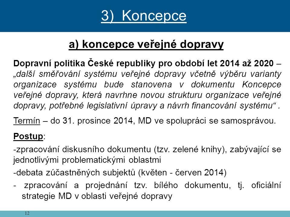 """12 a) koncepce veřejné dopravy Dopravní politika České republiky pro období let 2014 až 2020 – """"další směřování systému veřejné dopravy včetně výběru"""