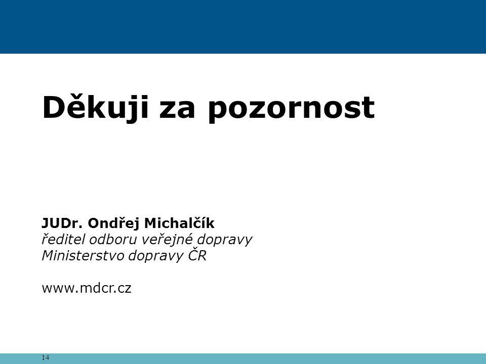 14 Děkuji za pozornost JUDr. Ondřej Michalčík ředitel odboru veřejné dopravy Ministerstvo dopravy ČR www.mdcr.cz