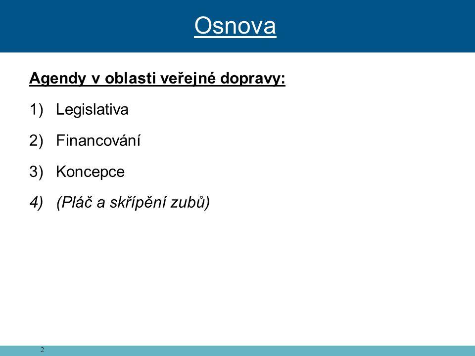 2 Agendy v oblasti veřejné dopravy: 1)Legislativa 2)Financování 3)Koncepce 4)(Pláč a skřípění zubů) Osnova