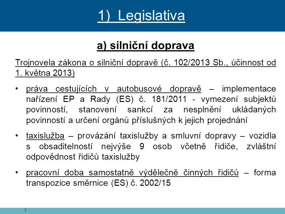 3 a) silniční doprava Trojnovela zákona o silniční dopravě (č. 102/2013 Sb., účinnost od 1. května 2013) • práva cestujících v autobusové dopravě – im