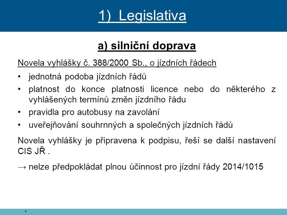 4 a) silniční doprava Novela vyhlášky č. 388/2000 Sb., o jízdních řádech • jednotná podoba jízdních řádů • platnost do konce platnosti licence nebo do