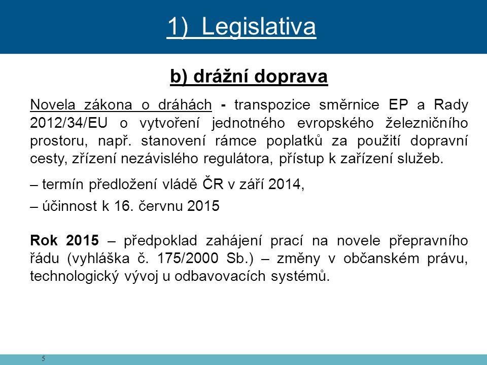 5 b) drážní doprava Novela zákona o dráhách - transpozice směrnice EP a Rady 2012/34/EU o vytvoření jednotného evropského železničního prostoru, např.