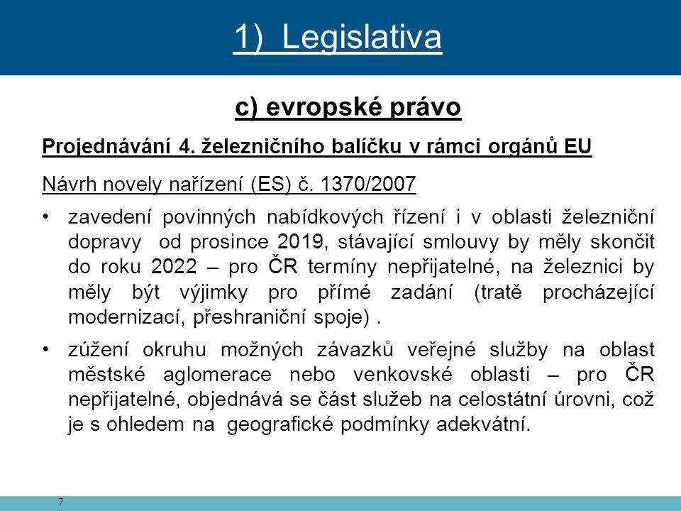 7 c) evropské právo Projednávání 4. železničního balíčku v rámci orgánů EU Návrh novely nařízení (ES) č. 1370/2007 • zavedení povinných nabídkových ří