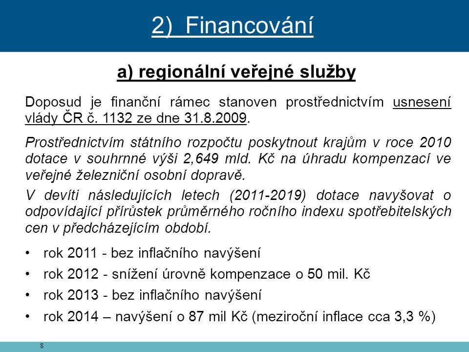 8 a) regionální veřejné služby Doposud je finanční rámec stanoven prostřednictvím usnesení vlády ČR č. 1132 ze dne 31.8.2009. Prostřednictvím státního