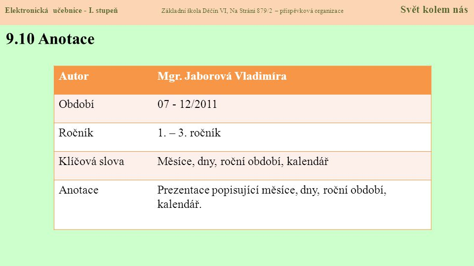 9.9 Použité zdroje, citace Elektronická učebnice - I. stupeň Základní škola Děčín VI, Na Stráni 879/2 – příspěvková organizace Svět kolem nás 1.http:/