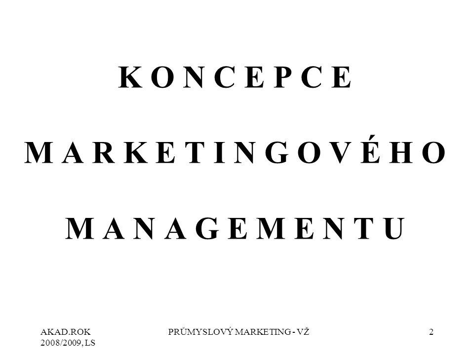 AKAD.ROK 2008/2009, LS PRŮMYSLOVÝ MARKETING - VŽ3 KONCEPCE MARKETINGOVÉHO MANAGEMENTU  Výrobní koncepce vychází z předpokladu, že zákazník dává přednost levným a snadno dostupným produktům.