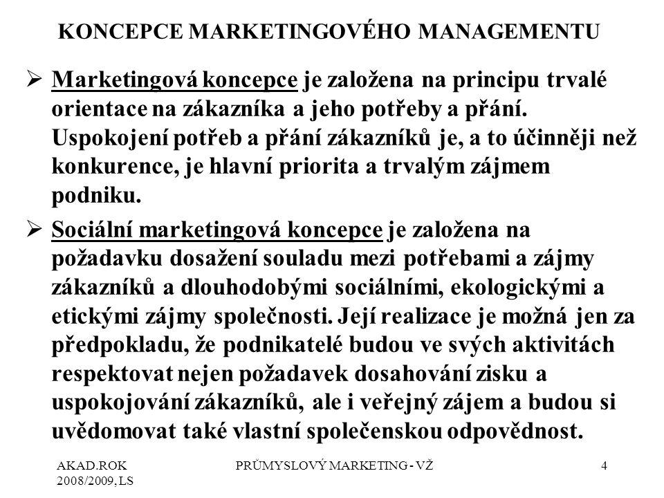 AKAD.ROK 2008/2009, LS PRŮMYSLOVÝ MARKETING - VŽ4 KONCEPCE MARKETINGOVÉHO MANAGEMENTU  Marketingová koncepce je založena na principu trvalé orientace na zákazníka a jeho potřeby a přání.