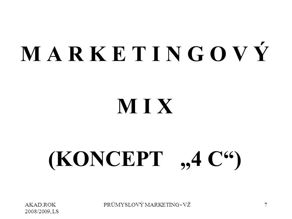 "AKAD.ROK 2008/2009, LS PRŮMYSLOVÝ MARKETING - VŽ8 K O N C E P T ""4 C Koncepce ""4 P bere v úvahu pohled prodávajícího, a tedy ne zákazníka."