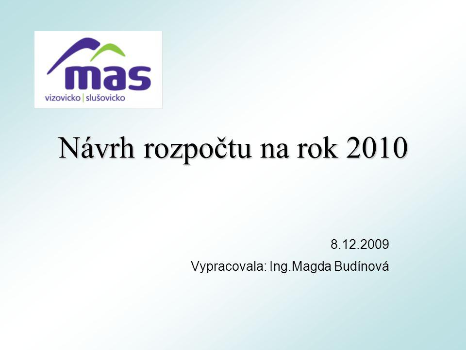 Návrh rozpočtu na rok 2010 8.12.2009 Vypracovala: Ing.Magda Budínová