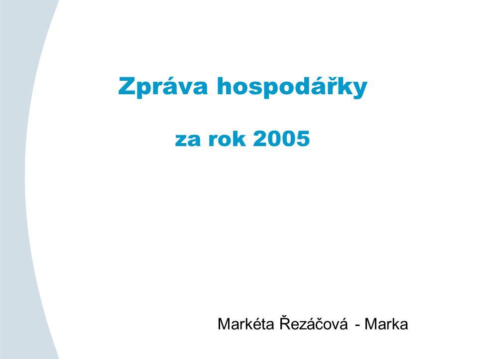 Zpráva hospodářky za rok 2005 Markéta Řezáčová - Marka