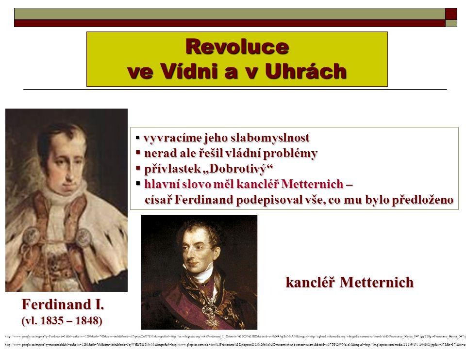 """Revoluce ve Vídni a v Uhrách  vyvracíme jeho slabomyslnost  nerad ale řešil vládní problémy  přívlastek """"Dobrotivý""""  hlavní slovo měl kancléř Mett"""