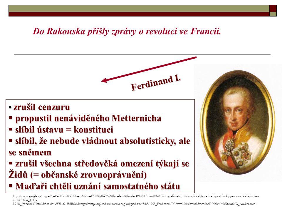  zrušil cenzuru  propustil nenáviděného Metternicha  slíbil ústavu = konstituci  slíbil, že nebude vládnout absolutisticky, ale se sněmem  zrušil