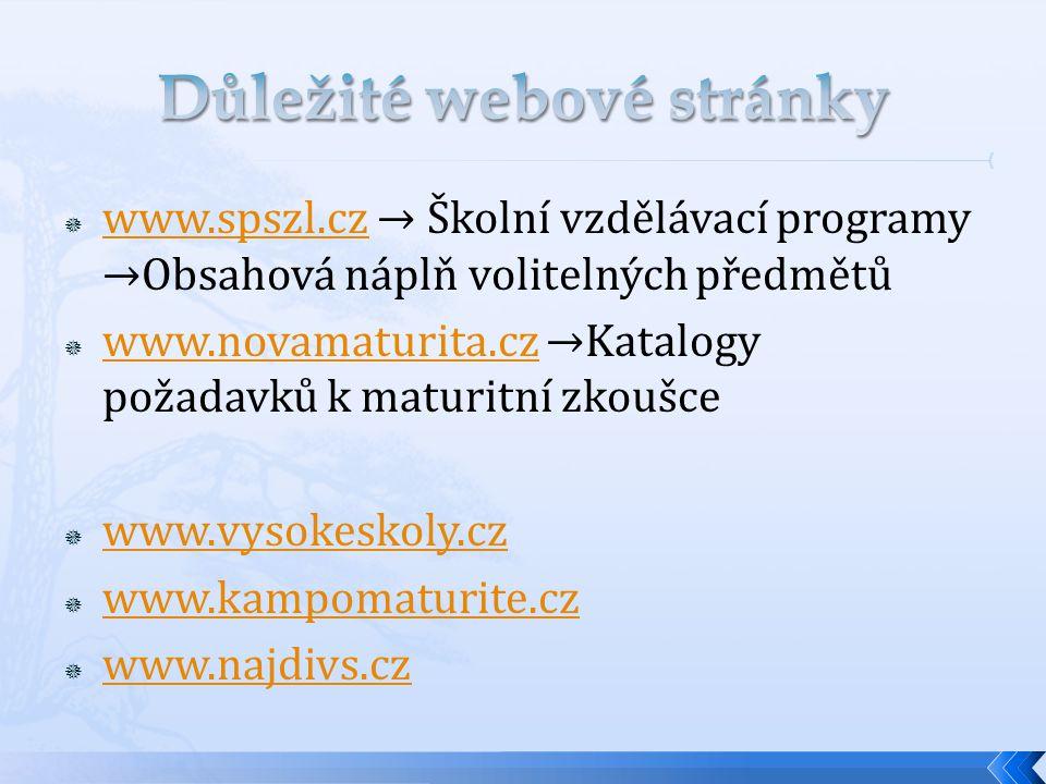  www.spszl.cz → Školní vzdělávací programy →Obsahová náplň volitelných předmětů www.spszl.cz  www.novamaturita.cz →Katalogy požadavků k maturitní zk
