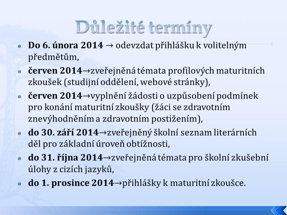  Do 6. února 2014 → odevzdat přihlášku k volitelným předmětům,  červen 2014→zveřejněná témata profilových maturitních zkoušek (studijní oddělení, we