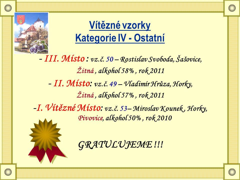 Vítězné vzorky Kategorie IV - Ostatní - III. Místo : vz.č.