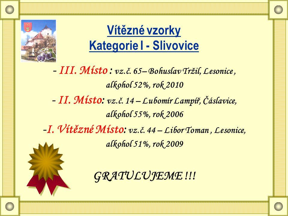 Vítězné vzorky Kategorie I - Slivovice - III. Místo : vz.č.