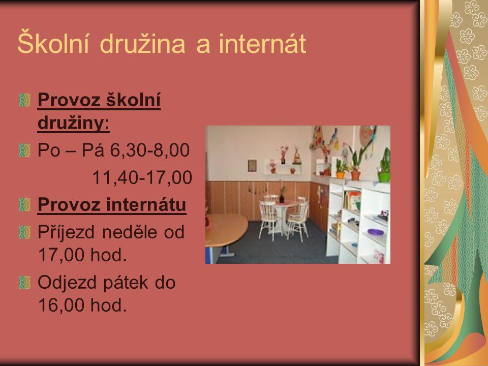 Organizace školní družiny a internátu Školní rok 2011/2012 byl zahájen 1. 9. 2011. Do školní družiny je v tomto roce přihlášeno 70 dětí. Na internátě