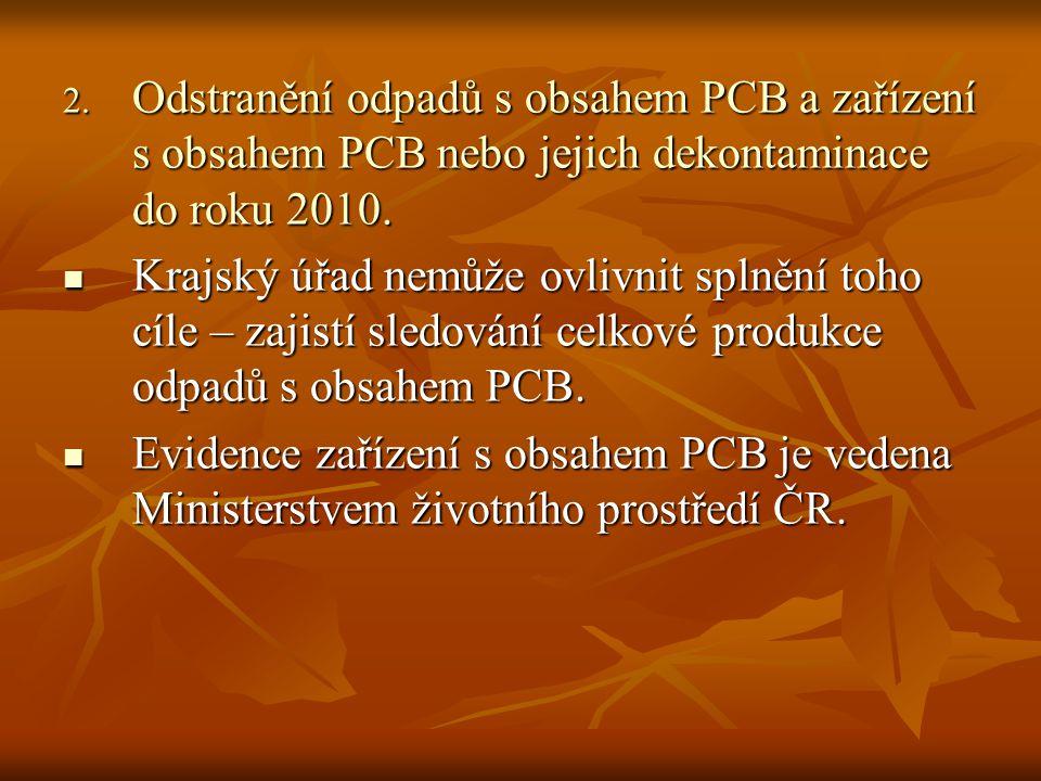 2. Odstranění odpadů s obsahem PCB a zařízení s obsahem PCB nebo jejich dekontaminace do roku 2010.  Krajský úřad nemůže ovlivnit splnění toho cíle –