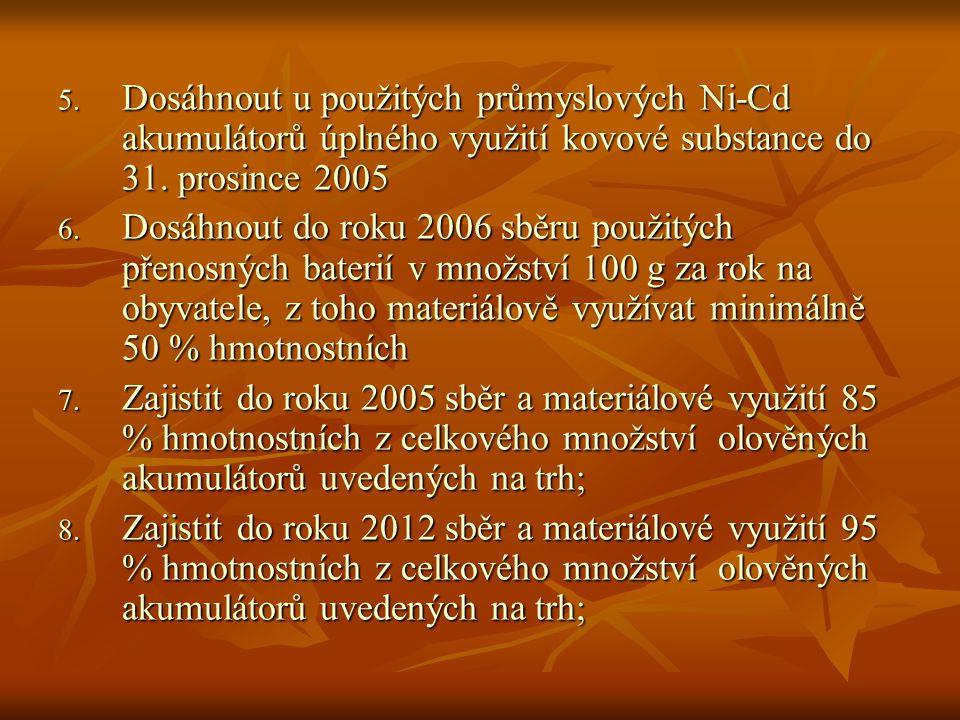 5. Dosáhnout u použitých průmyslových Ni-Cd akumulátorů úplného využití kovové substance do 31. prosince 2005 6. Dosáhnout do roku 2006 sběru použitýc
