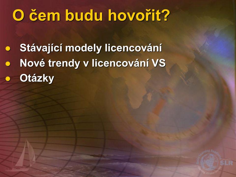 O čem budu hovořit?  Stávající modely licencování  Nové trendy v licencování VS  Otázky
