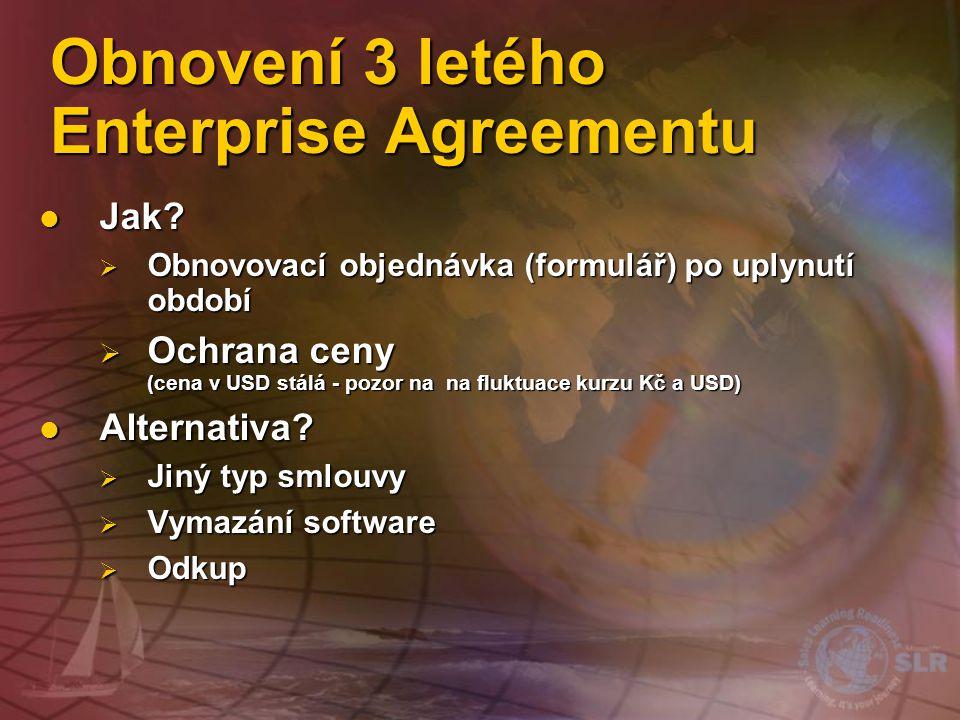"""Uzavření Enterprise Agreement Hlavní smlouva (Master Agreement) •Podpis """"Hlavním zákazníkem •Právním termíny a podmínky •NEMÁ DATUM UKONČENÍ Objednávkový formulář •Jedna nebo více afilací •3 roky •Zvolení produktů Objednávkový form.."""