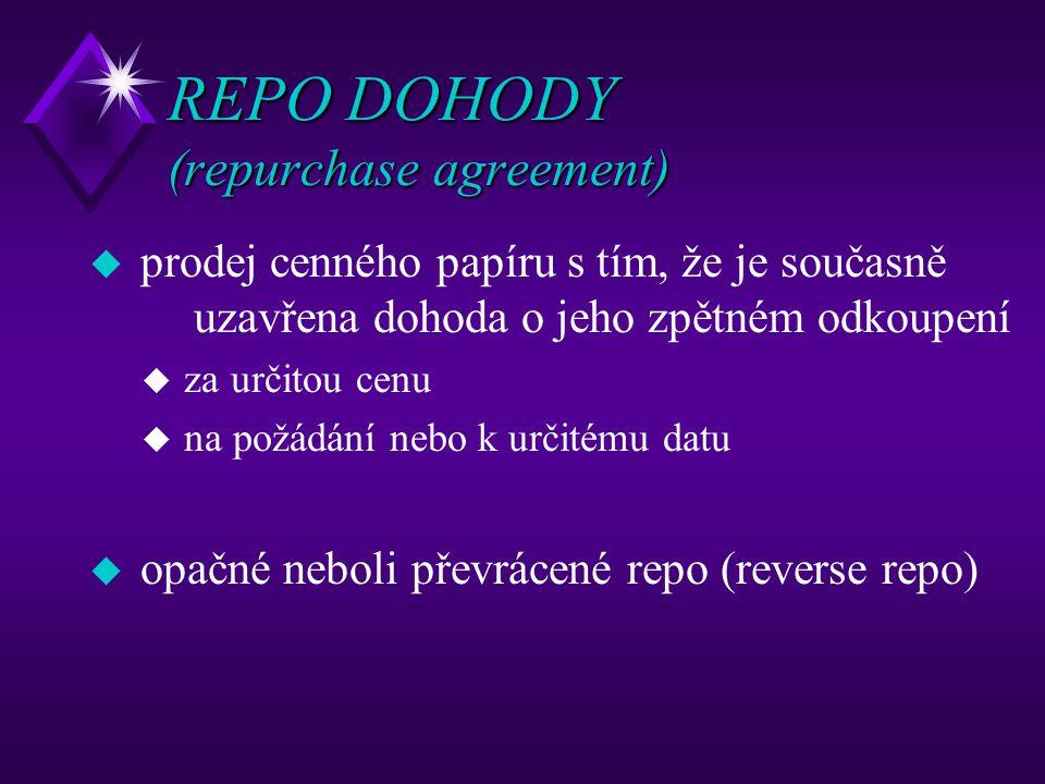 REPO DOHODY (repurchase agreement) u prodej cenného papíru s tím, že je současně uzavřena dohoda o jeho zpětném odkoupení u za určitou cenu u na požád