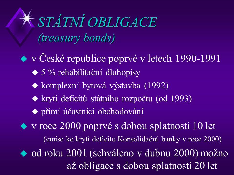 STÁTNÍ OBLIGACE (treasury bonds) u v České republice poprvé v letech 1990-1991 u 5 % rehabilitační dluhopisy u komplexní bytová výstavba (1992) u kryt