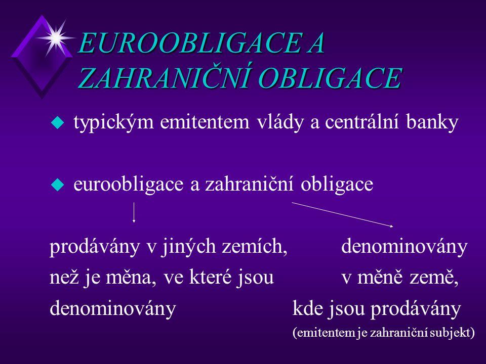 EUROOBLIGACE A ZAHRANIČNÍ OBLIGACE u typickým emitentem vlády a centrální banky u euroobligace a zahraniční obligace prodávány v jiných zemích,denomin
