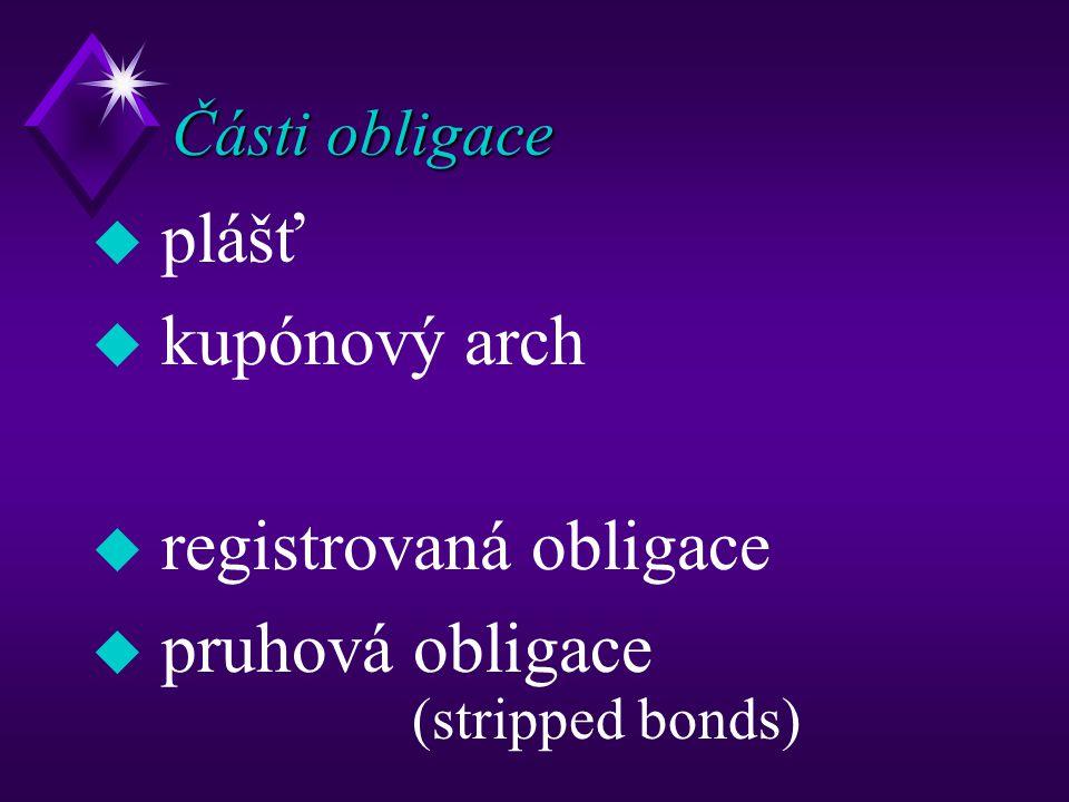 Části obligace u plášť u kupónový arch u registrovaná obligace u pruhová obligace (stripped bonds)