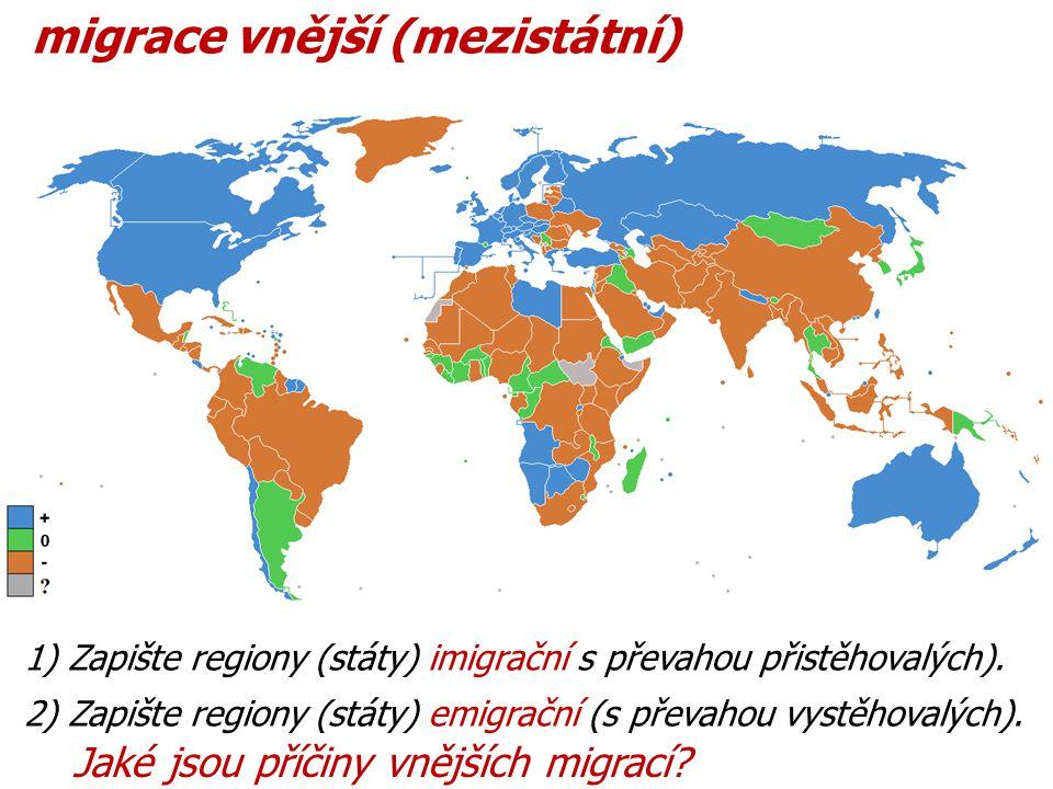 migrace vnější (mezistátní) 1) Zapište regiony (státy) imigrační s převahou přistěhovalých).