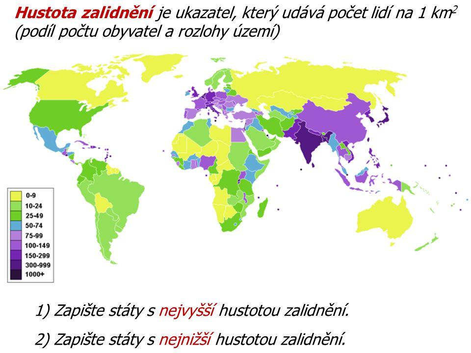 Hustota zalidnění je ukazatel, který udává počet lidí na 1 km 2 (podíl počtu obyvatel a rozlohy území) 1) Zapište státy s nejvyšší hustotou zalidnění.