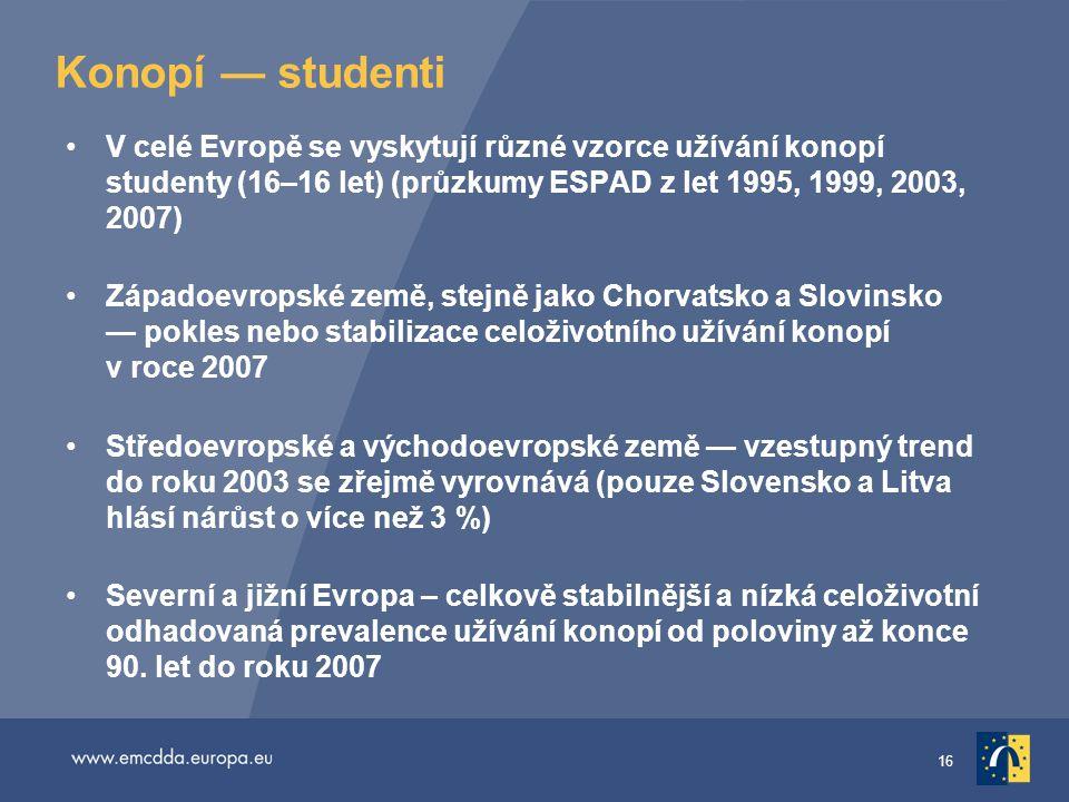 16 Konopí — studenti •V celé Evropě se vyskytují různé vzorce užívání konopí studenty (16–16 let) (průzkumy ESPAD z let 1995, 1999, 2003, 2007) •Západ