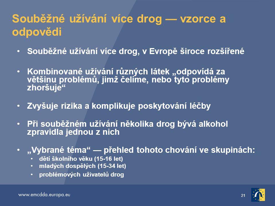 """21 Souběžné užívání více drog — vzorce a odpovědi •Souběžné užívání více drog, v Evropě široce rozšířené •Kombinované užívání různých látek """"odpovídá"""