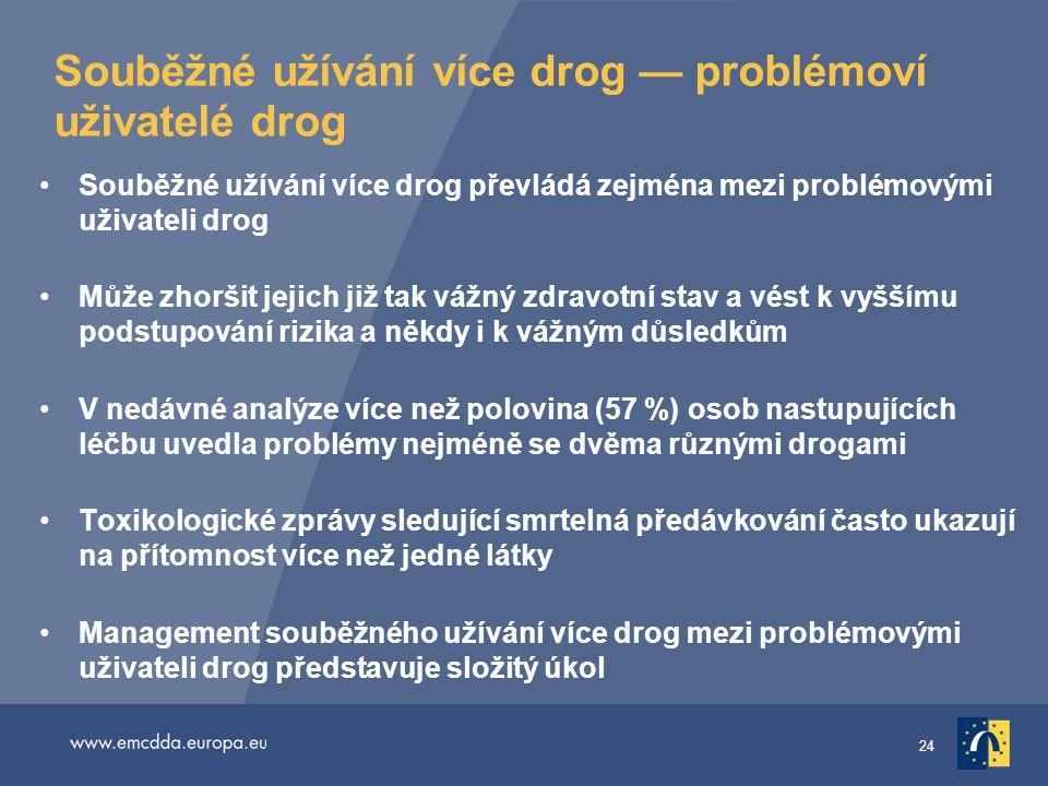 24 Souběžné užívání více drog — problémoví uživatelé drog •Souběžné užívání více drog převládá zejména mezi problémovými uživateli drog •Může zhoršit