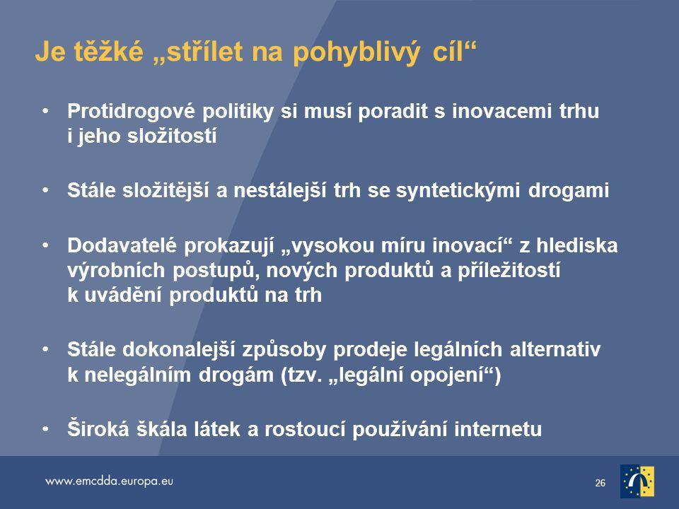 """26 Je těžké """"střílet na pohyblivý cíl"""" •Protidrogové politiky si musí poradit s inovacemi trhu i jeho složitostí •Stále složitější a nestálejší trh se"""