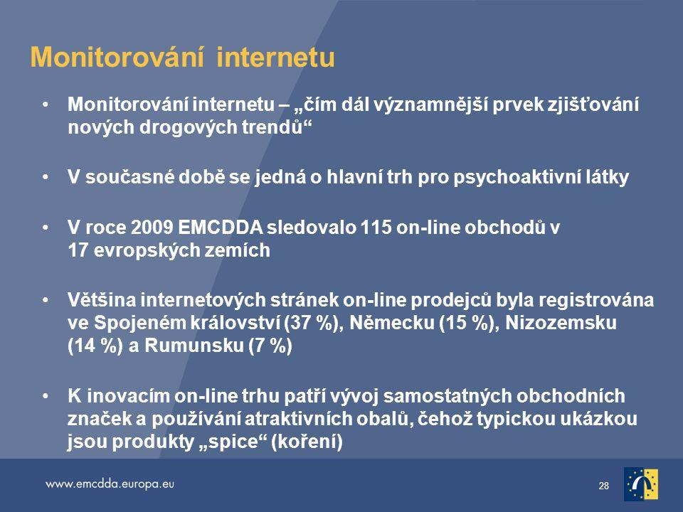 """28 Monitorování internetu •Monitorování internetu – """"čím dál významnější prvek zjišťování nových drogových trendů"""" •V současné době se jedná o hlavní"""