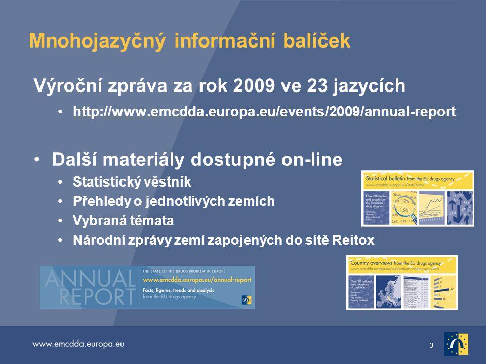 3 Mnohojazyčný informační balíček Výroční zpráva za rok 2009 ve 23 jazycích •http://www.emcdda.europa.eu/events/2009/annual-reporthttp://www.emcdda.eu