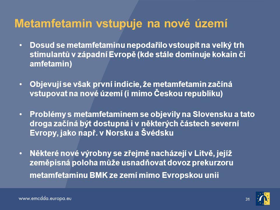 31 Metamfetamin vstupuje na nové území •Dosud se metamfetaminu nepodařilo vstoupit na velký trh stimulantů v západní Evropě (kde stále dominuje kokain