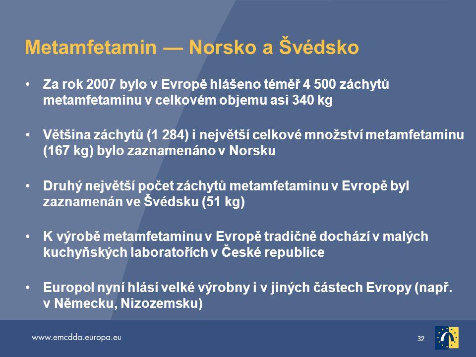 32 Metamfetamin — Norsko a Švédsko •Za rok 2007 bylo v Evropě hlášeno téměř 4 500 záchytů metamfetaminu v celkovém objemu asi 340 kg •Většina záchytů