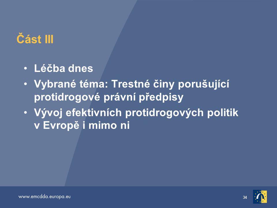34 Část III •Léčba dnes •Vybrané téma: Trestné činy porušující protidrogové právní předpisy •Vývoj efektivních protidrogových politik v Evropě i mimo